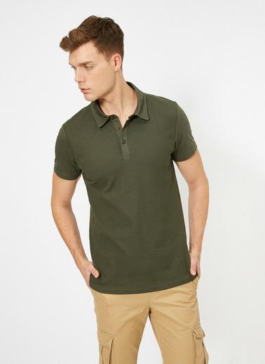 Koton Polo Yaka Dokulu Kumas Slim Fit T-Shirt Yeşil